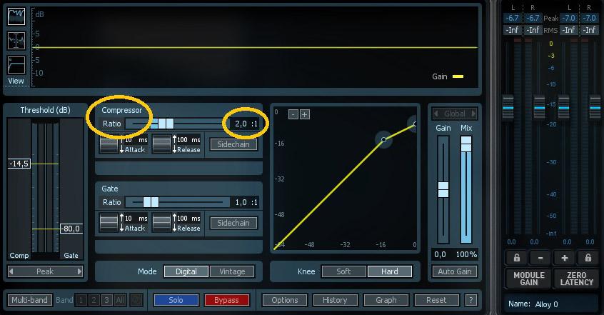 compression audio - ratio