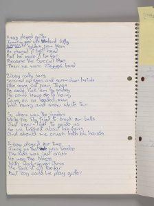 Ecrire des paroles : un manuscrit de David Bowie
